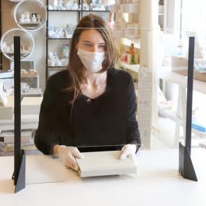METALPLUS Schermo protettivo da scrivania H56xL66cm in acrilico grigio alluminio
