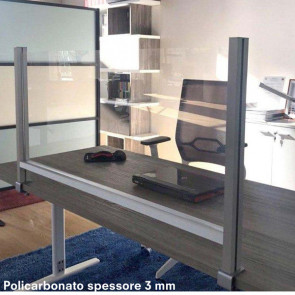 STUDIO T Schermo protettivo da scrivania H60xL102cm con morsetto alluminio silver