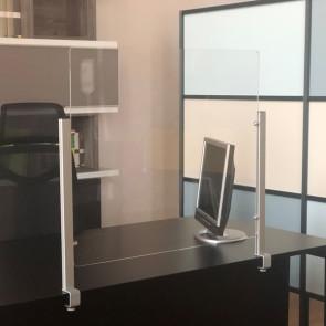 STUDIO T Schermo protettivo da scrivania Slim H70xL80cm con morsetto alluminio silver