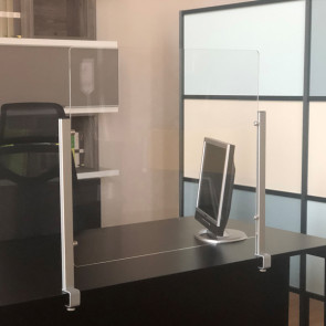 STUDIO T Schermo protettivo da scrivania Slim H65xL107cm con morsetto alluminio silver