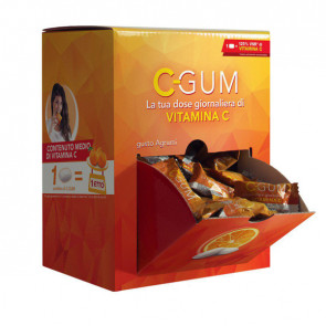 Chewing gum integratore Vitamina C - agrumi - C-Gum - box da 150 bustine (1 gomma cad)