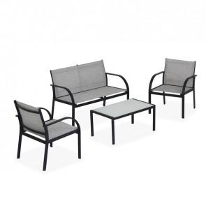 Salotto Ankara - nero/grigio - Garden Friend - set 4 elementi