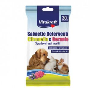 Salviette detergenti per pelo di animali (cani, gatti, roditori) - citronella e geranio - Vitakraft - conf. 30 pezzi