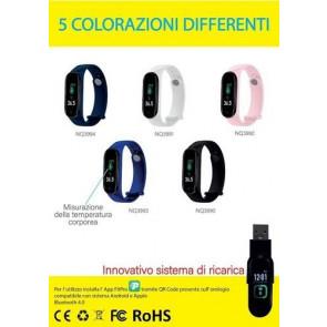 Smart Watch con RILEVAZIONE Temperatura CORPOREA,CONTA PASSI,CALO.Colore rosa