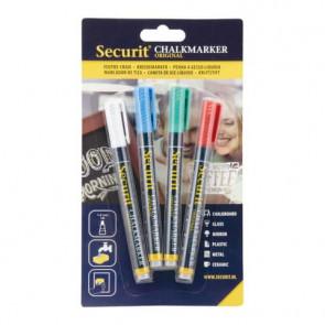 Pennarelli a gesso liquido Securit a punta fina 1-2 mm assortiti set da 4 pennarelli - BL-SMA100-V4-COL