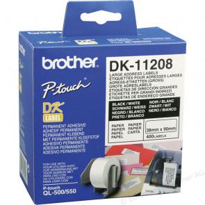 BROTHER ROTOLO 400 ETICHETTE 38X90MM NERO/BIANCO IN CARTA