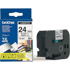 Nastri TZ Brother 24 mm nero/bianco TZ-251