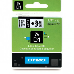 Nastri Dymo D1 6 mm x 7 m nero/bianco S0720780 (ex 43613)