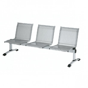 Panca 3 posti attesa Unisit Plexus PS3PT con tavolino in acciaio grigio schienale e seduta forati traspiranti - PS3PT
