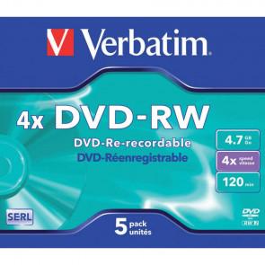 DVD-RW Verbatim Jewel Case 4.7 GB - velocit? di scrittura 4x conf. da 5 - 43285